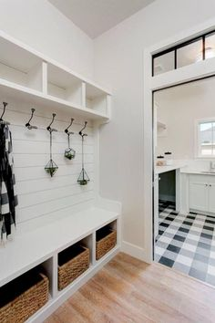 80 Modern Farmhouse Mudroom Entryway Ideas - Decorating Ideas - Home Decor Ideas and Tips Mudroom Laundry Room, Laundry Room Design, Mud Room Lockers, Mudroom Cubbies, Built In Lockers, Mudroom Cabinets, Wood Lockers, Laundry Storage, Modern Farmhouse Interiors
