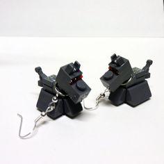 Custom LEGO Doctor Who K9 Earrings by FoldedFancy on Etsy, $20.00