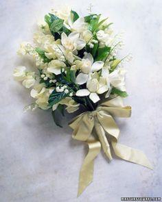 ea335a3af507ba Creamy Gardenia Bouquet  Lemony-green ribbon ties a loose