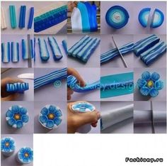 tutorial blue flower in fimo Polymer Clay Canes, Polymer Clay Flowers, Fimo Clay, Polymer Clay Projects, Polymer Clay Creations, Polymer Clay Jewelry, Clay Crafts, Fimo Tutorial, Flower Tutorial