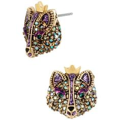 Betsey Johnson Multi Fox Stud Earring ($30) ❤ liked on Polyvore featuring jewelry, earrings, multi, stud earrings, purple jewelry, earring jewelry, fox jewelry and gold colored earrings