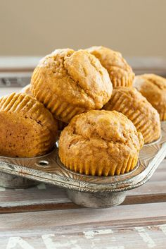 Bookmark this classic fall baking recipe to make a dozen Pumpkin Muffins.