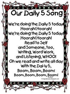 """Our Daily Five Song! Students can sing it before Daily 5 time and a copy can be put into our """"Song & Poetry Folders! First Grade Reading, First Grade Classroom, Classroom Fun, First Grade Songs, Classroom Cheers, Classroom Procedures, Classroom Organization, Classroom Management, Organization Ideas"""