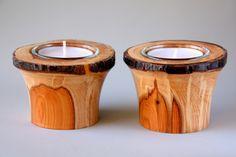Paar von natürlichen Kanten irische Eibe Teelichter /