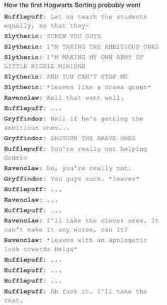 I am a bit angry with this because hufflepuffs is not the rest. THEY ARE GOOD FINDERS AND THEY ARE FAIR AND A LOT MORE.