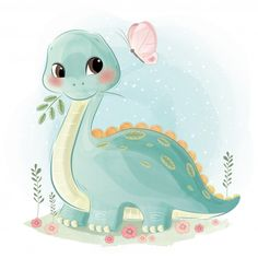 Dinossauro fofo e borboleta vetor Premium Sheldon The Tiny Dinosaur, Cute Dinosaur, Baby Dinosaurs, Baby Animals, Cute Animals, Illustration Mignonne, Cute Illustration, Baby Animal Drawings, Cute Drawings