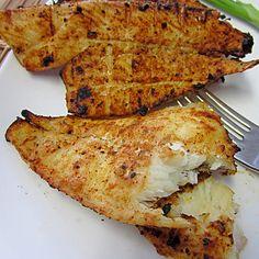 Southwestern Style Grilled Flounder Recipe Main Dishes with filet, rub, minced onion, onion powder, chili powder, garlic powder, kosher salt, lemon pepper, cumin, smoked paprika