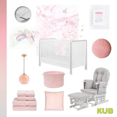 Pink and grey nursery colour scheme!! 🎀Complete the look with our Dulcia cot bed and Haywood glider chair in grey