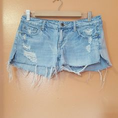 Denim shorts Light wash distressed denim shorts American Eagle Outfitters Jeans