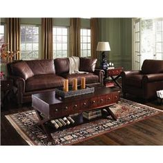 Family Room Leather and I love the coffee table!