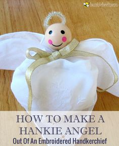 Making a Hankie Angel Out Of Lace Handkerchiefs DIY Tutorial Diy Christmas Ornaments, Christmas Angels, Christmas Holidays, Christmas Decorations, Dyi Crafts, Paper Crafts, Hand Crafts, Handkerchief Crafts, Angel Crafts