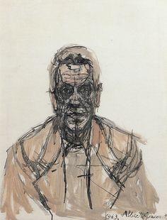 Alberto Giacometti (Swiss, 1901-1966), Portrait of Giorgio Soavi, 1963. Oil on canvas 50 x 40 cm.viamondialchaos