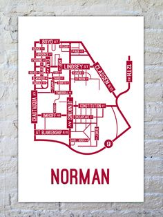 The University of Oklahoma  Sooners - Big 12  School Street Posters | Norman, Oklahoma Street Map Poster $22 | SchoolStreetPosters.com