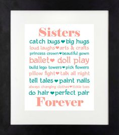 Sisters Forever Print Sisters Wall Art Girls Room by NothingPanda, $11.00