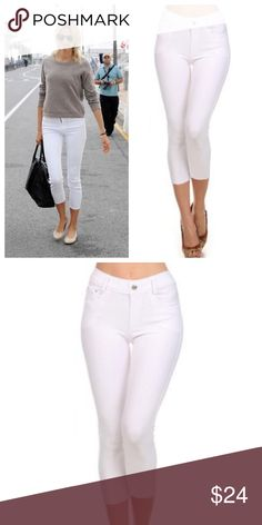 """White Skinny Capri Jegging Basic 5 pocket Capri Jegging with non functional button& zipper closer  66% cotton, 27% poly, 5% spandex   Tags say medium but fits a large very stretchy material.   M/L  Waist 28.75""""/ hip 34""""/ front rise 9.75""""/ back rise 13"""" Bchic Pants Capris"""