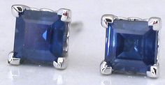 http://rubies.work/1025-sapphire-ring/ Square Sapphire Earrings in White Gold