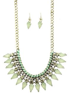 Delicate? Tough?   You don't want to give anything away.  This vintage-inspired Shourouk necklace set definitely isn't your Grandma's.  Necklace is 14 inches long and the rhinestones are 1 inch long.