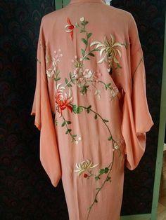 20s Peach Crepe Embroidered Boudior Kimono
