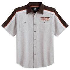 Harley Men's Short Sleeve Colorblocked Woven Shirt