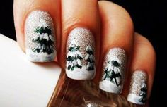 Looking for a unique nail art design this Christmas? Here is a fine collection of best Christmas nail art designs & new year eve nail art ideas. Christmas Tree Nail Designs, Christmas Tree Nails, Holiday Nail Art, Xmas Nails, Winter Nail Designs, Winter Nail Art, Cute Nail Designs, Winter Nails, Christmas Manicure