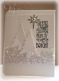Christmas card mostly in white with two die cut trees and chuncky glitter snow...