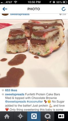 Funfetti Chocolate Brownie Protein Cake Bars
