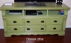 Painted dresser, converted to tv cabinet, green, Love this color!