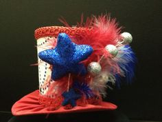Red, White and Blue Mini Top Hat for Dress Up, Birthday, Tea Party or Photo Prop.