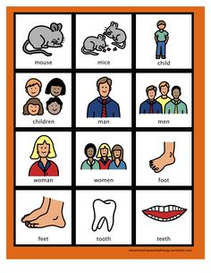 Irregular Plural Noun Cards-card sets with singular vs plural nouns to teach plural noun rules. From Adventures in Speech Pathology. Pinned by SOS Inc. Resources @sostherapy.