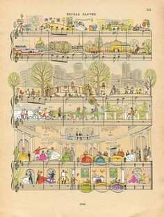 On Note: Miniature Illustrations on Sheet Music by Lena Erlich Comics Illustration, Illustrations, Piano Y Violin, Cello, Sheet Music Art, Music Pictures, Anime Comics, Music Notes, Art Lessons