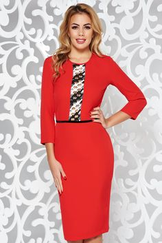 StarShinerS red elegant pencil dress sleeve slightly elastic fabric front embroidery Product Label, Pencil Dress, Soft Fabrics, Fashion Dresses, Dresses For Work, Glamour, Embroidery, Sleeves, Vestidos