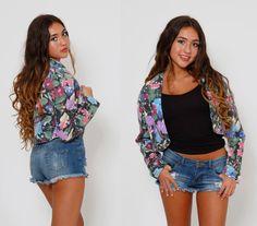 Vintage 80s PRINTED Denim Jacket CROPPED Floral Blazer by LotusvintageNY