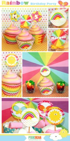 Pastel Rainbow Party Package - DIY by PixieBearParty on Etsy