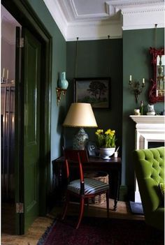 dark green walls with lime green tufted chair & great fireplace. I just love the dark green walls. Living Room Green, My Living Room, Living Spaces, Bedroom Green, Dark Walls Living Room, Green Bedrooms, Dark Green Walls, Blue Walls, Interior Decorating