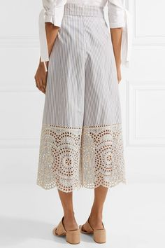 Blue and white cotton-poplin, beige broderie anglaise Concealed hook and zip fastening at back cotton Dry clean Imported Soft Pants, Crisp White Shirt, Rosetta Getty, Jennifer Fisher, Wide Leg Pants, Poplin, White Cotton, Blue Stripes, Dress Up