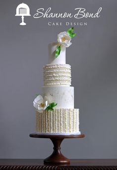 Buttercream Ruched Ruffles by Shannon Bond Cake Design - http://cakesdecor.com/cakes/251447-buttercream-ruched-ruffles