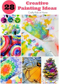 28 of the most creative painting ideas for kids. All of the activities selected are based on process art projects which are perfect for preschoolers and older kids to join in with as well.