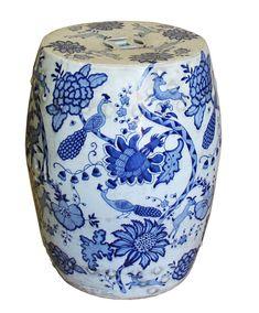 Chinese Blue White Porcelain Round Flower Bird Stool Cs4171s