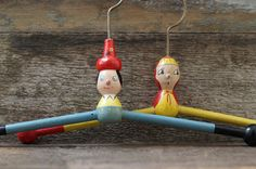 Rare Vintage Children's Wood Clothes Hangers by HouseofSeance