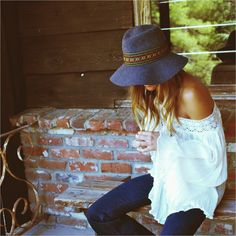 Adorable stitch detail wide brim, off the shoulder peasant top & denim. Fresh boho chic threads.