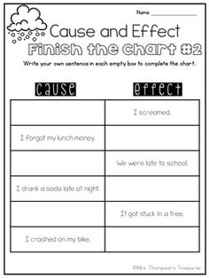 Cause and Effect by Mrs Thompson's Treasures | Teachers Pay Teachers