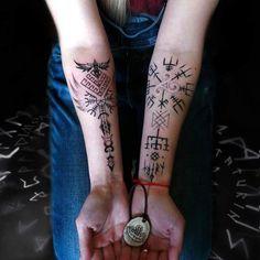 ValkiriaTattoo by Dimon Taturin 🇪🇪 - Wicca Tattoo, Simbolos Tattoo, Rune Tattoo, Tattoo Hals, Norse Tattoo, Celtic Tattoos, Viking Tattoos, Body Art Tattoos, New Tattoos