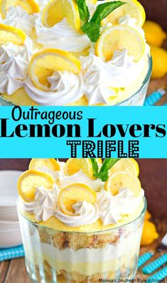 This Outrageous Lemon Lovers Trifle is a dessert filled with creamy irresistible citrus deliciousness. It starts with our family recipe for. Lemon Desserts, Lemon Recipes, Easy Desserts, Cake Recipes, Fruit Trifle Desserts, British Desserts, Brownie Trifle, Oreo Cheesecake, Cup Brownie