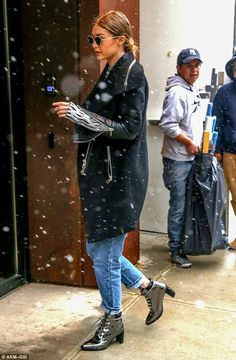 Too cool for school: The style star's layers ensured she looked good but kept warm in the ...