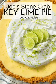 Joe's Stone Crab Key Lime Pie (copycat) - An Alli Event Key Lime Desserts, Lemon Desserts, Just Desserts, Delicious Desserts, Dessert Recipes, Pudding Recipes, Summer Desserts, Baking Recipes, Lime Recipes