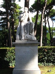 Lord Byron statue in the gardens in front of Museo Borghese The Byron, Lord Byron, Mary Shelley, Literary Heroes, Frankenstein, She Walks In Beauty, Romanticism, 19th Century, Rome