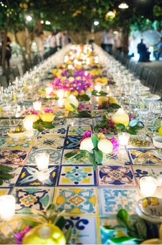 the beautiful tile table we created for our clients' rehearsal dinner #love…