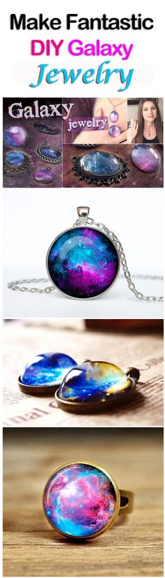 Jewelry Making Ideas Make Wonderful DIY Galaxy Jewelry. - Make Wonderful DIY Galaxy Jewelry Resin Crafts, Jewelry Crafts, Handmade Jewelry, Diy Crafts, Jewelry Box, Resin Jewelry Making, Jewelery, Diy Galaxie, Galaxy Jewelry