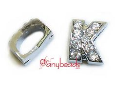 """Alphabet """"K"""" Slide Charm with Crystal Rhinestones. Create your own unique personalized name bracelet."""