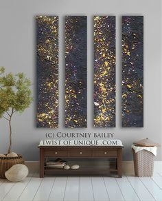 Stars Abstract painting - 4 panel AcryliCrete Wall Art